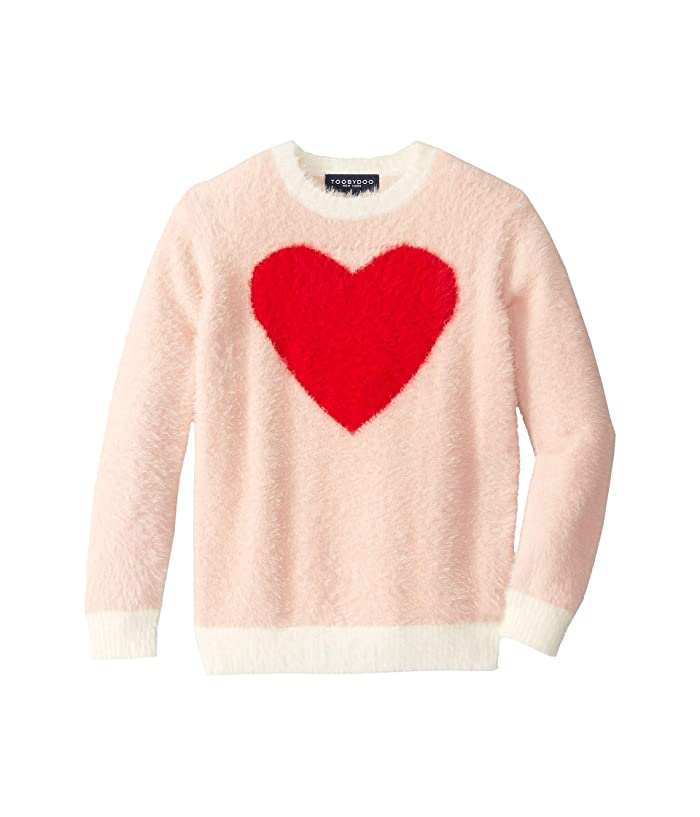 Toobydoo  Faux-Mohair Sweater (Toddler/Little Kids/Big Kids) (Pink/Red Heart) Girls Clothing