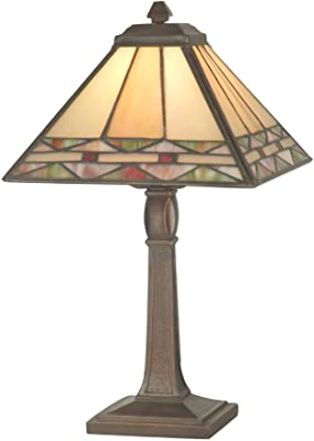Dale Tiffany TA70678 Tiffany/Mica One Light Accent Table Lamp from Miniature Collection in Brass Finish, 8.00 inches, Antique Bronze