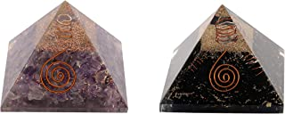 Aatm Natural Healing Gemstone Multi Stone Orgone Pyramid (Black Tourmaline & Amethyst, 3 Inches)