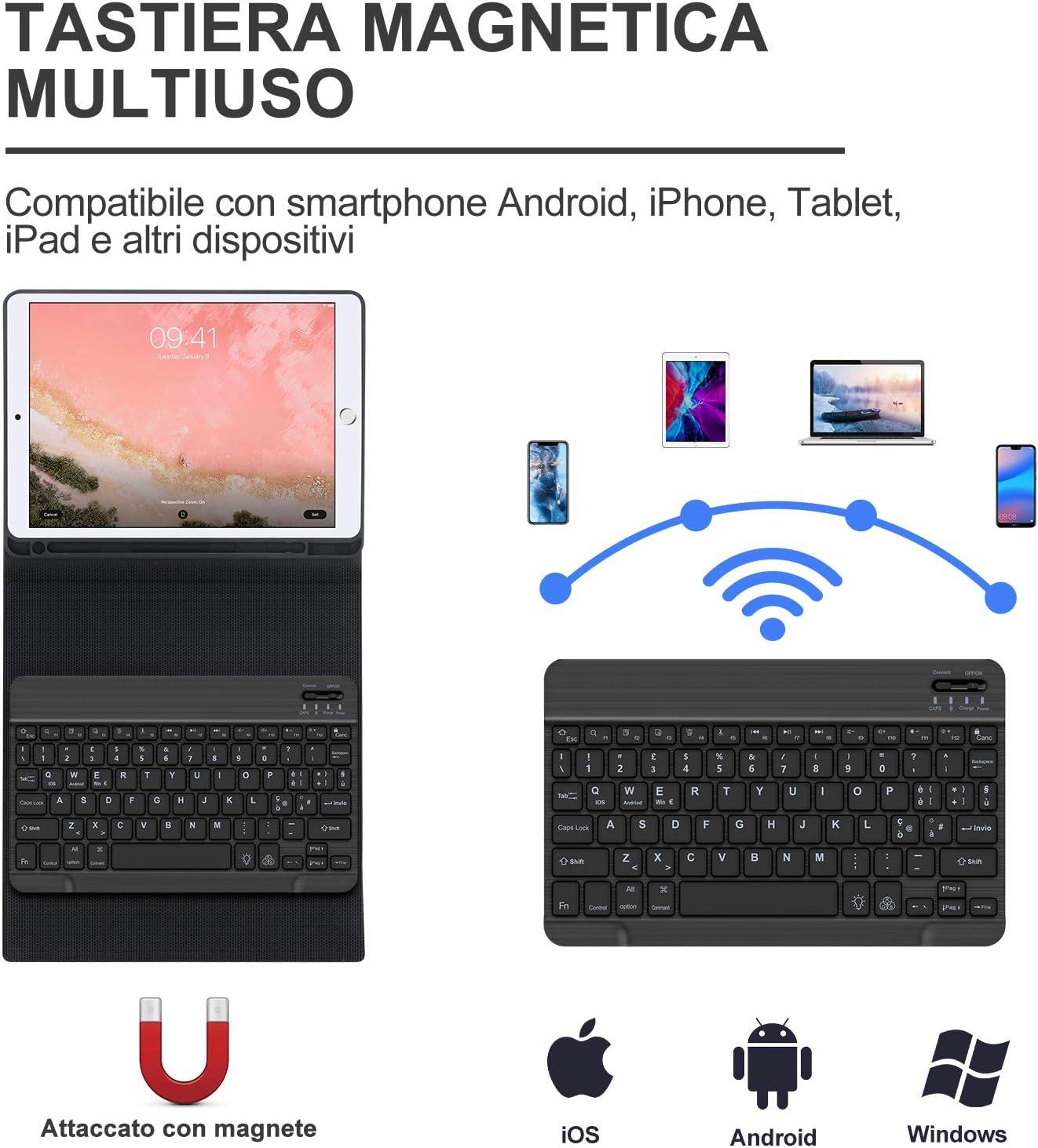 Tastiera Italian Retroilluminato Tastiera per iPad 9.7 SENGBIRCH Custodia con Tastiera per iPad 9.7 Inch iPad Air 2//Air//iPad 9.7 2018//2017//iPad Pro 9.7 Sonno Automatico con Funzione Stand Nero