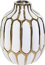 مزهرية سيراميك Sagebrook Home 12540-04 8 بوصات، أبيض/ذهبي، 5.7 × 5.7 × 8 بوصة