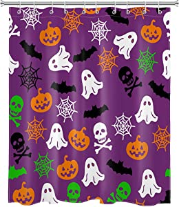 LB Funny Halloween Shower Curtain Cute Pumpkin Ghost Skull Spider Web Kids Shower Curtains for Bathroom Decorations Set with Hooks 60x72 inch Waterproof Polyester Fabric
