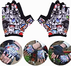 Kids Cycling Gloves Fingerless Half Finger Non-Slip Bike Gloves Breathable Soft Lycra Fabric Shock Absorption Bicycle Mittens For Boys Girls Age 4-12 Outdoor Road Mountain Riding Rock Climbing