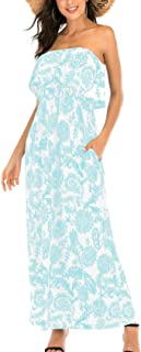 MIDOSOO Womens Ruffled Printed Floral Long Strapless Summer Dresses with Pockets