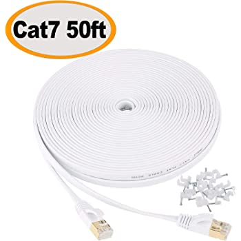 Jadaol Cat 7 Ethernet Cable 50 ft Shielded, Solid Flat Internet Network Computer patch cord, faster than Cat5e/cat6 network, durable Cat7 High Speed RJ45 Lan Wire for Router, Modem, Gaming, Hub– White