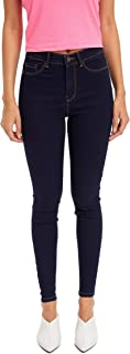 DeFacto Women's super skinny denim trousers, casual button high-rise skinny denim jeans, skinny jeans for women.
