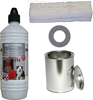Moritz - Juego de 5 botes de bioetanol de 1000 ml y 1 bote de 250 ml con tapa + 1 algodón + placa de ahorro para quemador de chimenea, estufa, combustión de seguridad