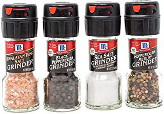 McCormick Salt & Pepper Grinder Variety Pack By (Himalayan Pink Salt, Sea Salt, Black Peppercorn, Peppercorn Medley),0.05 Pound, 4 Count