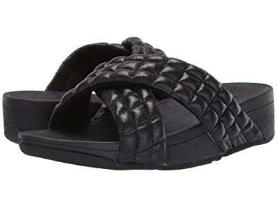 FitFlop Lulu Padded Shimmy Suede Slides (All Black) Women