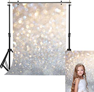 Haboke 5x7ft Soft Fabric Silver White Sequin Christmas Photography Backdrop Glitter Bokeh for Birthday Baby Shower New Years Eve Party Supplies Photo Studio Props