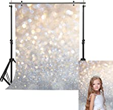 Haboke 5x7ft Soft Fabric Silver White Sequin Photography Backdrop Glitter Bokeh for Birthday Wedding Newborn Baby Shower Photo Studio Props Supplies