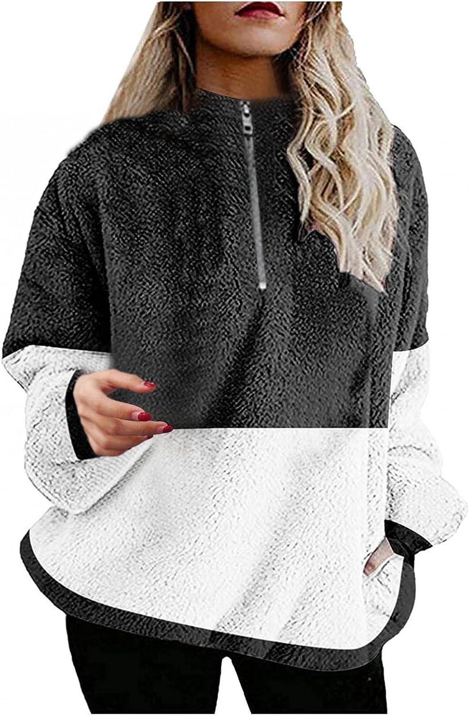 Misaky Women's Winter Oversized Outwear Jackets Shaggy Coat Zipper Sweatshirts With Pocket