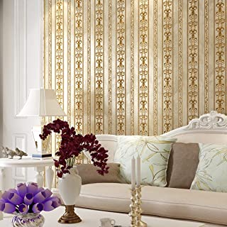 Blooming Wall Vintage French Damasks Gold Stripes Textured Wallpaper Wall Paper for Livingroom Kitchen Bedroom,20.8 In32.8 Ft=57 Sq.ft (Gold Stripes)