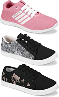 Shoefly Women's (5054-5051-5052) Multicolor Casual Sports Running Shoes (Set of 3 Pair)