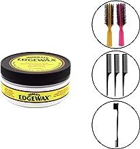 Murrays Edgewax Gel 4 Ounce Jar (Including Double Sided Edge Control Hair Brush, 3 Piece Rat Tail Hair Comb Set & 2 pc Colorful Handle Nylon Bristles Brushes) Murrays Edgewax (120ml) Edge Control Kit
