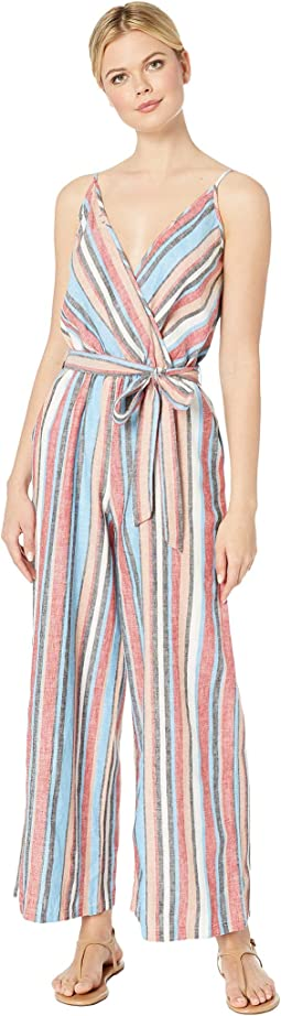 Linen Striped Jumpsuit with Self Tie