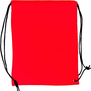 5 Pack 210D Polyester Drawstring Backpack, Gym Sports, Outdoor Backpack, Camping and Hiking Red Bags (5 Pack, Red)