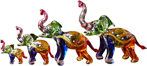 Sansukjai Set 4 Elephant Figurines Animals Hand Painted Multi-color Hand Blown Glass Art Collectible Gift Decorate