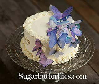Edible Wafer Lavender Purple Butterfly- Cake/cupcake Toppers Collection of 15