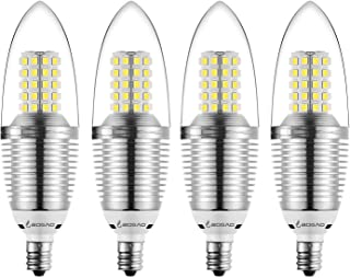 Bogao (4 Pack LED Candelabra Bulb, 12W Daylight White 6000K LED Candle Bulbs, 85-100 Watt Light Bulbs Equivalent, E12 Candelabra Base,1200Lumens LED Lights,Torpedo Shape