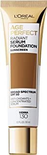 L'Oreal Paris Age Perfect Radiant Serum Foundation with SPF 50, Sienna, 1 Ounce