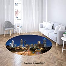 AngelDOU Round Area Rug Super Soft Flannel Printed Carpet Image of Atlanta Skyline Twilight with Highway Buildings Skyscrapers Blurred Mot Floor Mat for Bedroom Dormitory