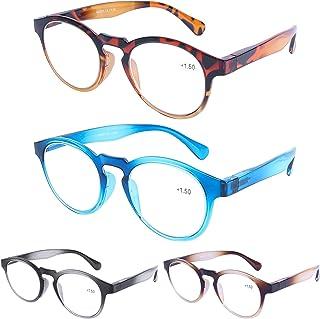 DOOViC 4 Pack Blue Light Blocking Reading Glasses, Gradient Color Lightweight Series, Anti Eyestrain Computer Readers Fashion Design Round Glasses for Men Women 2.5 Strength