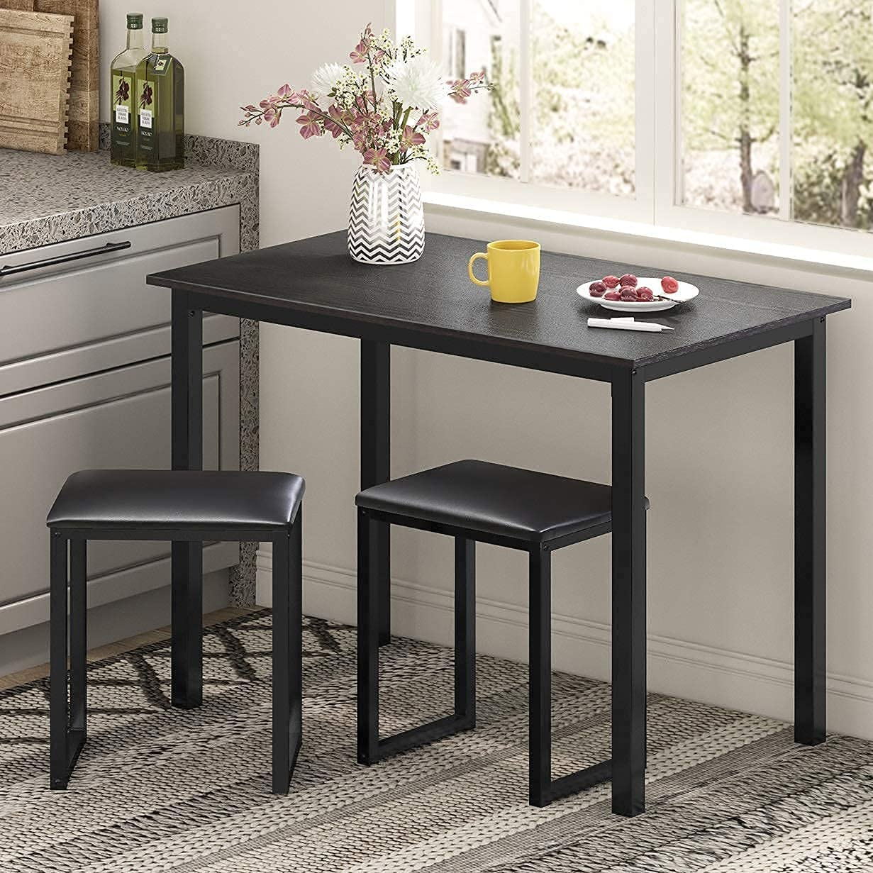 HOMURY Award-winning store 3 Max 81% OFF Pieces Dining Table Set with Inch 42 Padded Kit Stools