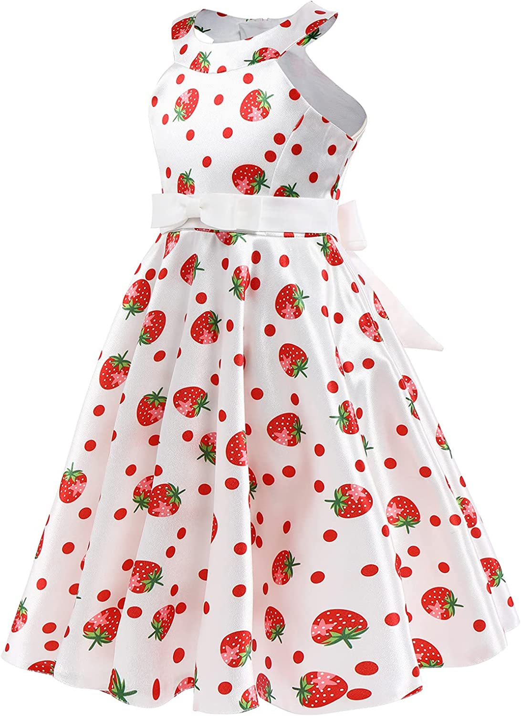 Vintage Dresses for Girls Polka Neck Princ Halter Sleeveless Spasm price Dot Ranking TOP15