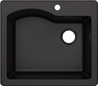 Kraus KGD-441BLACK Quarza 25-inch Drop-In Single Bowl Granite Kitchen Sink in Black