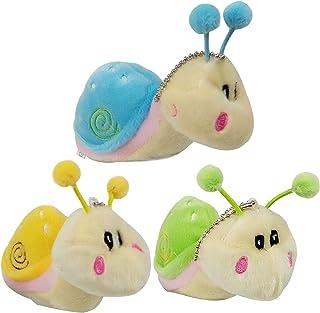 3 pcs Stuffed Animals Snail Plush Toys, Cute Fake Mini Beanie Doll, Little Stuff Animal Keychains, Valentines Christmas Gifts for Kids Boys Girls