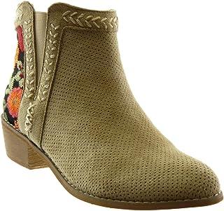 ecc9f13bd16ba Angkorly - Chaussure Mode Bottine Bottes Indiennes Chelsea Boots Femme  Fleurs perforée brodé Talon Haut Bloc