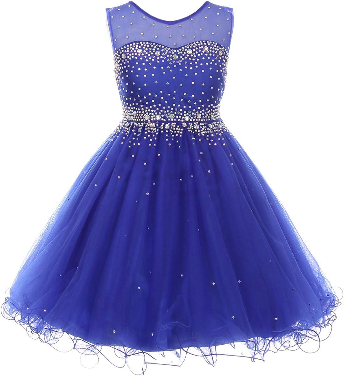 CrunchyCucumber Sparkling Rhinestones Illusion Flower Girl Dress