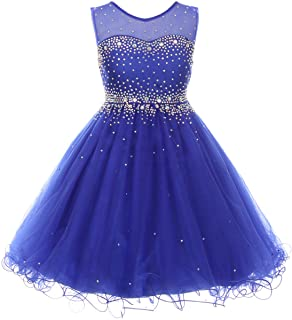 Sparkling Rhinestones Illusion Flower Girl Dress