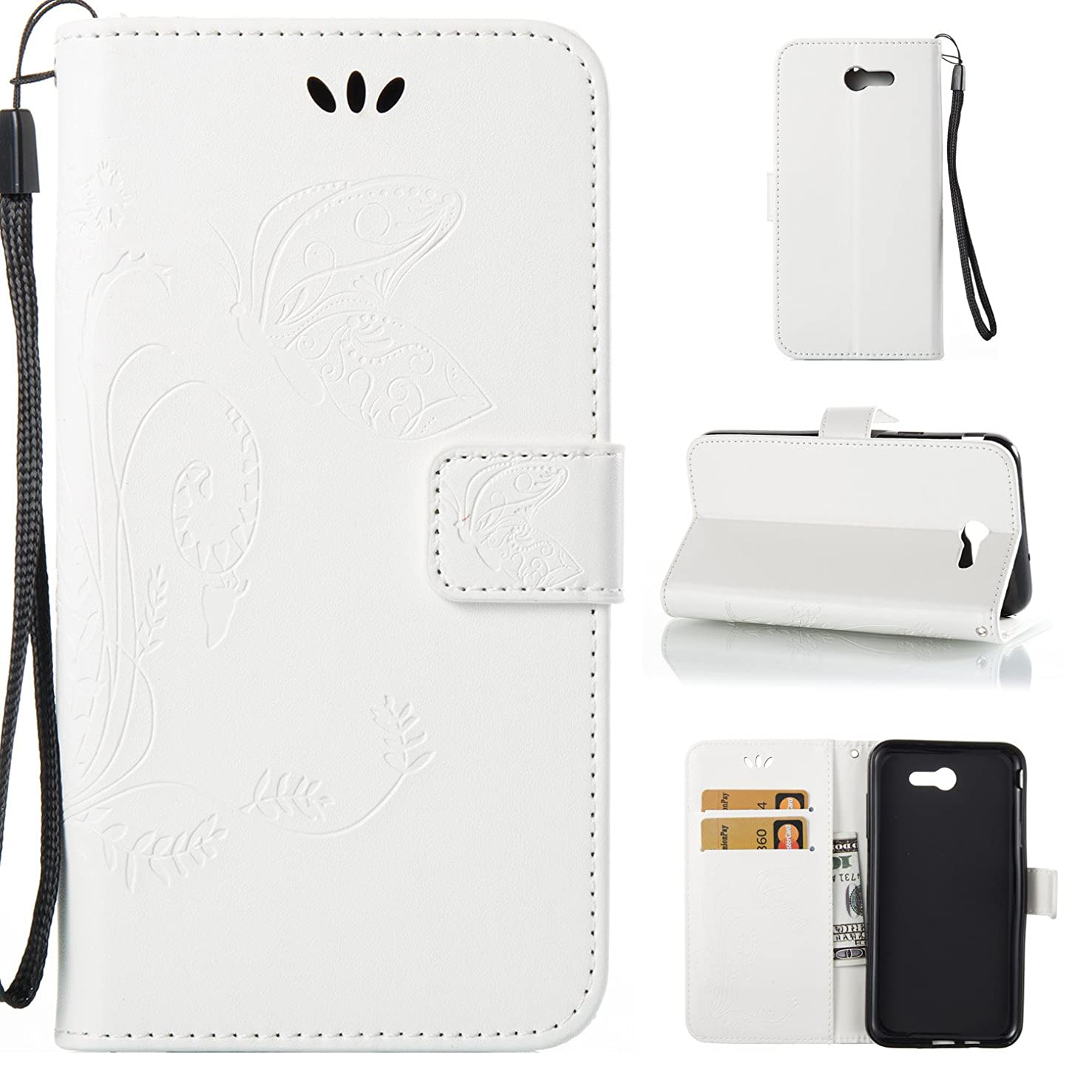 Galaxy J7 V,Galaxy Halo,J7 Perx,Galaxy J7 Sky Pro,J7 2017,DAMONDY Embossed Butterfly PU Leather Magnetic Flip Cover Card Holders & Hand Strap Wallet Purse Case for Samsung Galaxy J7 2017-White