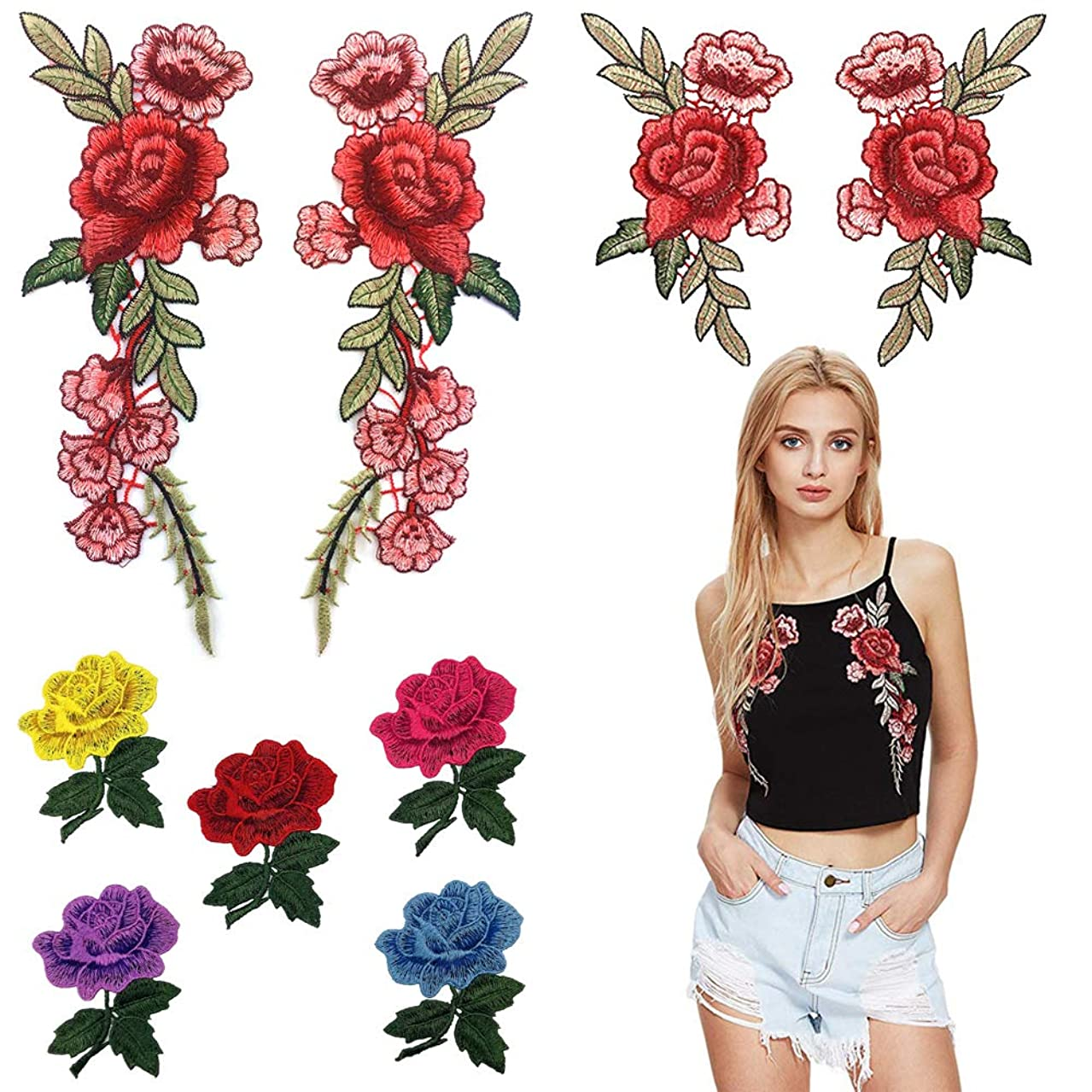 3D Lace Applique Rose Flowers Embroidered Sew on Patches for DIY Jeans, Jackets, Dress, Clothing, Bags (9 Pieces)