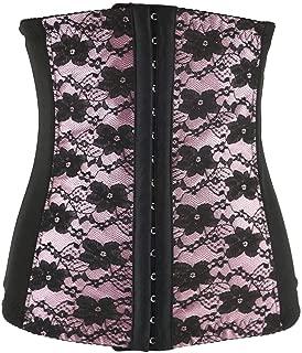Women's Underbust Floral Pattern Corset, Mesh Breathable Steel Boned Body Shaper Tummy Fat Burner, Recovery Belt Binder Slimming Shapewear for Women, Plus Size XS-6XL. (Color : Pink, Size : 5XL)
