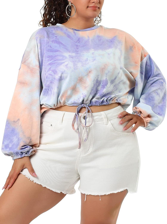 Agnes Orinda Women's Plus Size Top Drawstring Waist Elastic Cuff Knit Crop Tie Dye Tee T Shirts