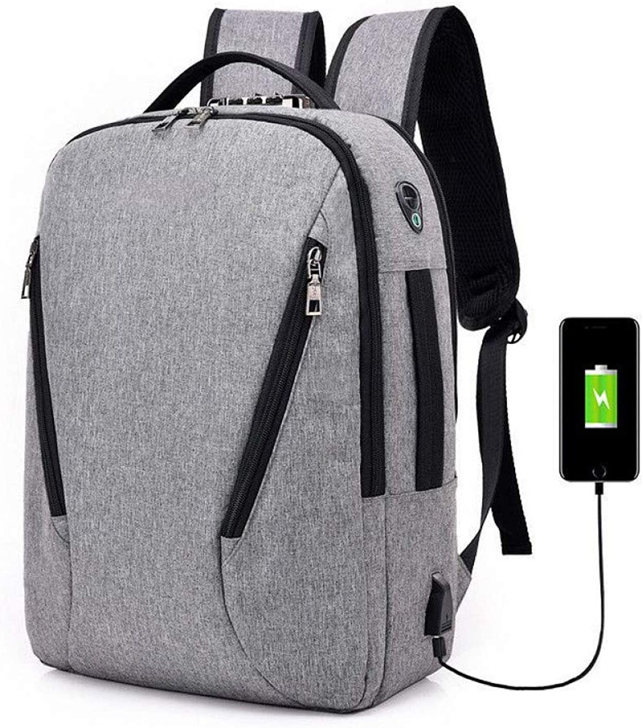 HUYANNABAO Men's Fashion School Backpack 14 Inch Portable Backpack USB Charging AntiTheft Bag Men's MultiPurpose Business Backpack
