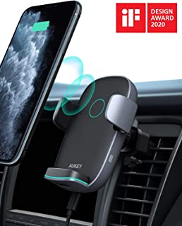 AUKEY Wireless Car Charger 10W Qi Fast Charging Auto-Clamping Car Phone Mount Air Vent Phone Holder Compatible with iPhone11/11Pro/11ProMax/XSMax/XS/X/8/8+ Samsung S10/S10+/S9/S9+/S8/S8+/Note and More