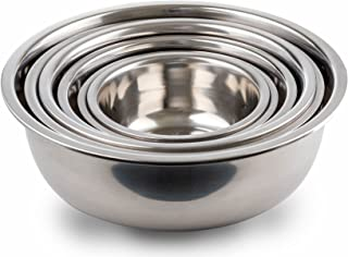 Stainless Steel Mixing Bowls Mirror Finish Nesting Bowls Set Of 6 Different sizes, 3/4 1.5, 3, 4, 5, and 8, Qt by Kitchen Winners