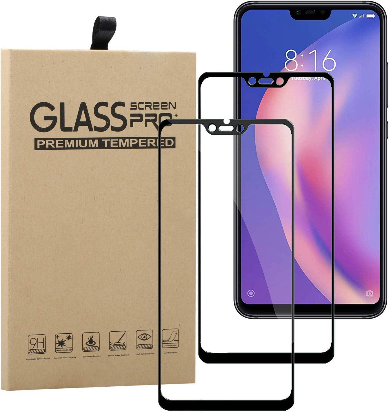 Young & Ming Protector de Pantalla Compatible para Xiaomi Mi 8 Lite,[2-Unidades] La protección más Simple y eficaz de la Pantalla [Cobertura Completa] Protector Vidrio Templado, Negro