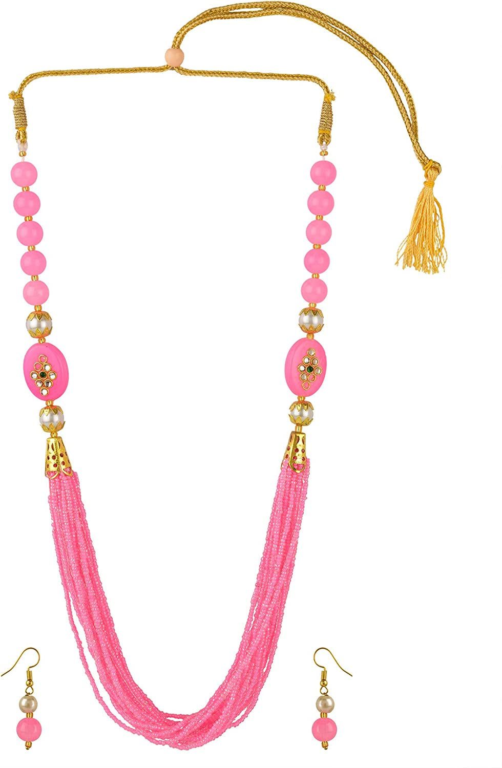 Efulgenz Indian Bollywood Multi Layered Faux Pink Pearl Beads Bridal Strand Necklace Earrings Wedding Jewelry Set