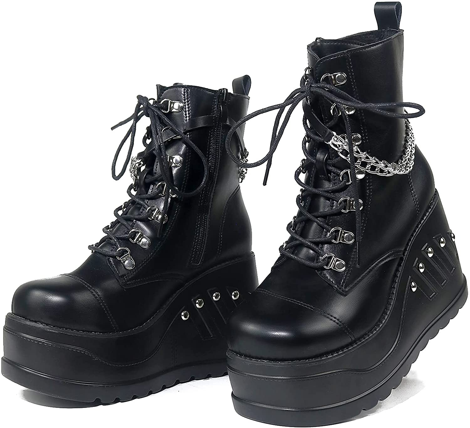 femflame Women's Platform Boots Goth Punk Block Heel Mid Calf Boots with Chain Studded Combat Boots Motorcyle Boots