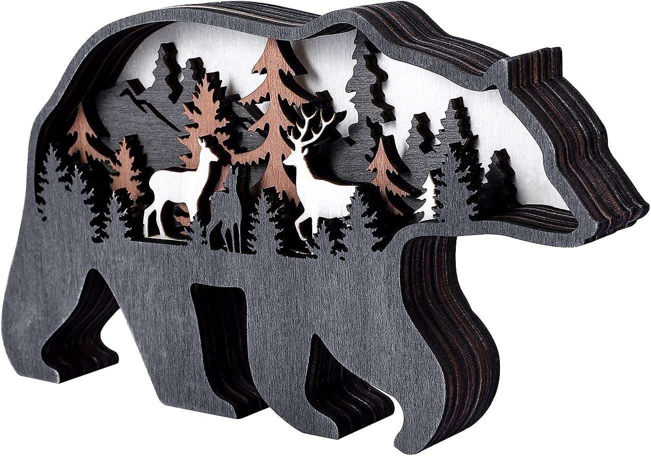 3D Wooden Animal Decor, Deer and Bear Home Decor for Wall and tabletop,Best Gift for Christmas (Bear)