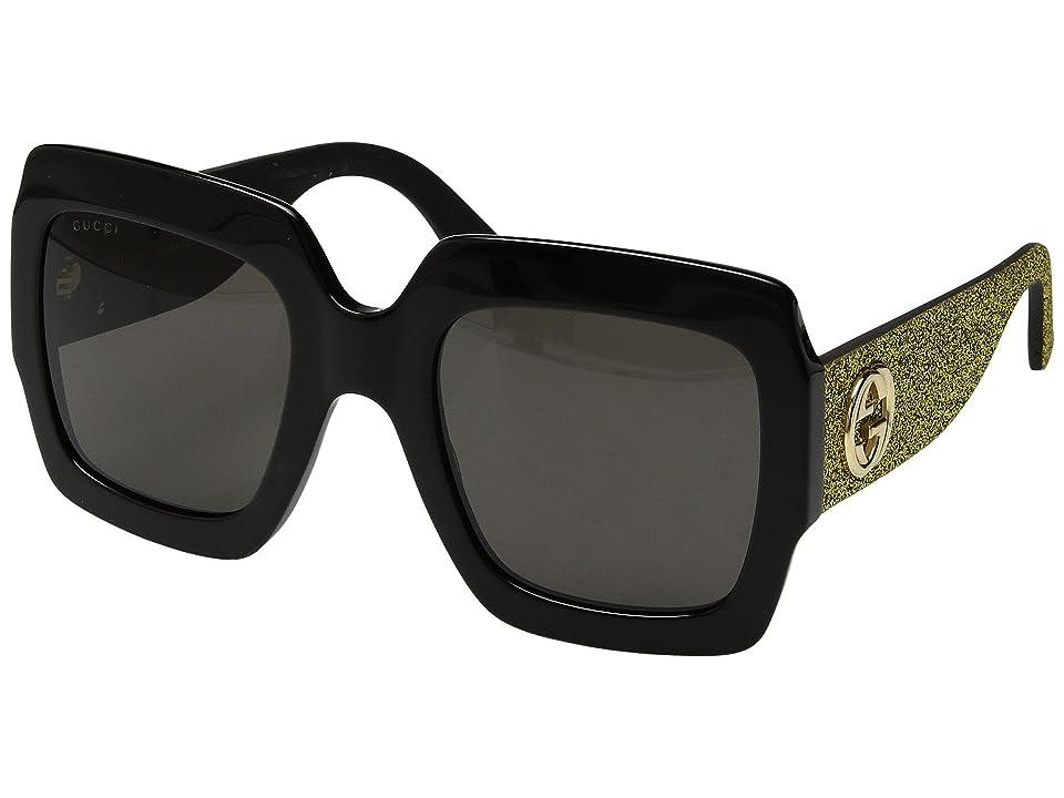 Gucci GG0102S (Black/Gold Glitter Temples/Grey) Fashion Sunglasses