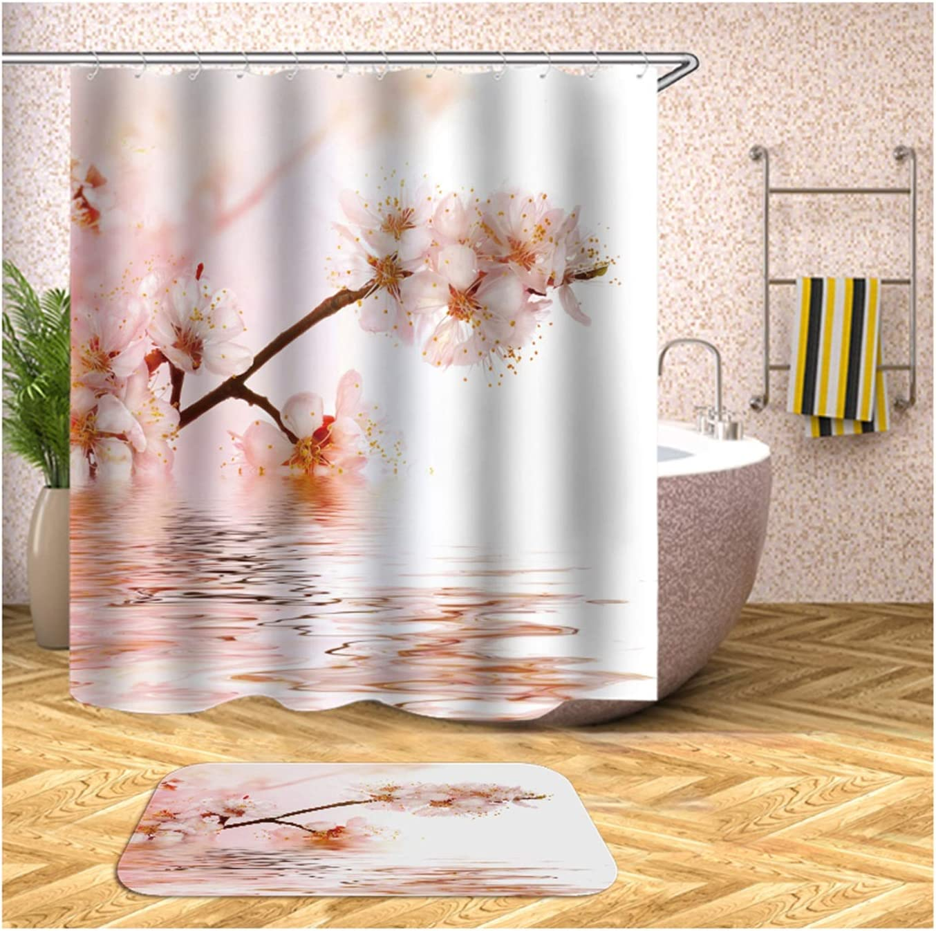 Gnzoe Matching excellence 2021 model Shower Curtain and Rug Bat Home Flower Set Pink
