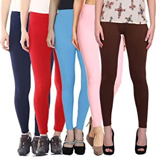 Pixie Women's/Girls Cotton Lycra 160 GSM 4 Way Strechable Ankle Length Leggings Combo (Pack of 5) - Free Size