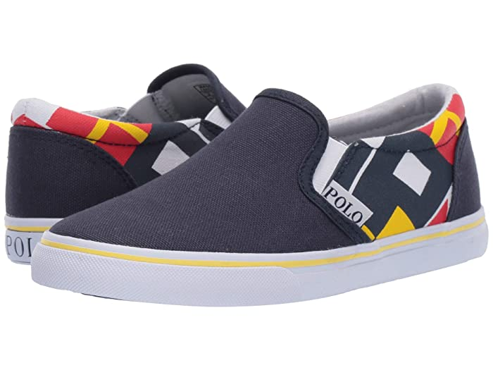 Polo Ralph Lauren Kids  Landyn (Little Kid) (Navy Canvas/Red/Navy/YellowithWhite Sail Print) Boys Shoes