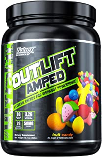 Nutrex Research Outlift Amped | Premium Pre-Workout Focus & Energy, Citrulline, Teacrine, Betaine, Creatine, Beta-Alanine | Fruit Candy | 20 Servings …